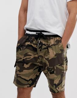 Sixth June - Cargo-Shorts mit Military-Muster - Grün
