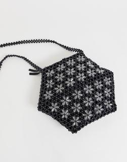 Glamorous - Sechseckige Umhängetasche mit floraler Perlenstickerei - Schwarz