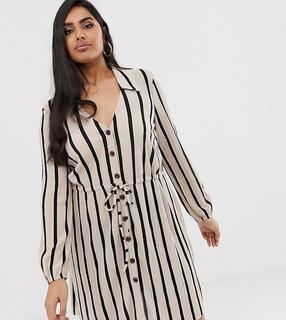 ASOS Curve - ASOS DESIGN Curve mini textured shirt dress in stripe