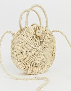 Hat Attack - straw circle cross body bag