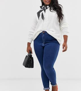 ASOS Curve - ASOS DESIGN Curve Ridley high waisted skinny jeans in rich mid blue wash
