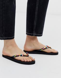Accessorize - black flip flops with neon beaded trim
