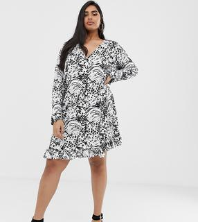 ASOS Curve - ASOS DESIGN Curve animal print button through mini dress