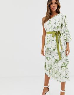 ASOS DESIGN - one shoulder cutwork floral print dress with belt detail