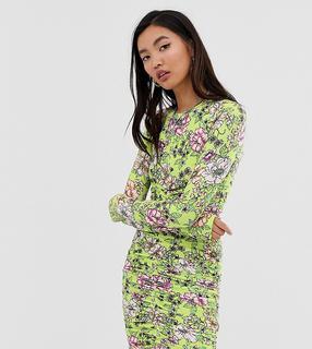 Collusion - Geblümtes, figurbetontes Jersey-Kleid mit Rüschen-Mehrfarbig