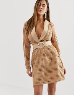 ASOS DESIGN - tux mini dress in broderie with belt