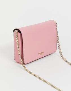 Kate Spade - pink leather foldover crossbody bag with chain handle