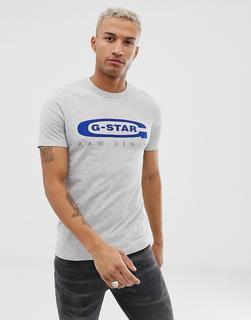 G-Star - Graphic 4 – Schmales T-Shirt mit Logo auf der Brust aus Bio-Baumwolle, Grau