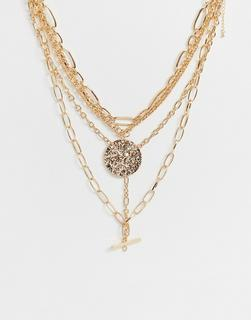 ASOS DESIGN - multirow necklace in mixed hardware chains with large worn coin and bar pendants in gold tone