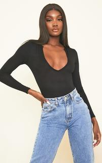 PrettyLittleThing - Tall Black Basic Plunge Long Sleeve Bodysuit, Black