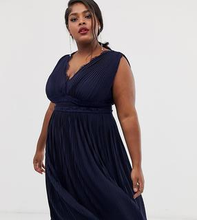 ASOS Curve - ASOS DESIGN Curve Premium Lace Insert Pleated Midi Dress