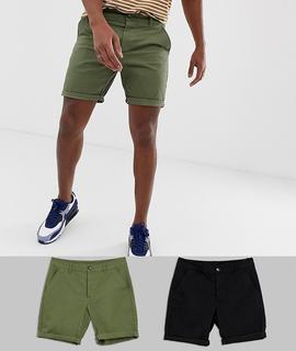 ASOS DESIGN - 2er-Set schmale Chino-Shorts in Khaki und Schwarz, Rabatt - Mehrfarbig