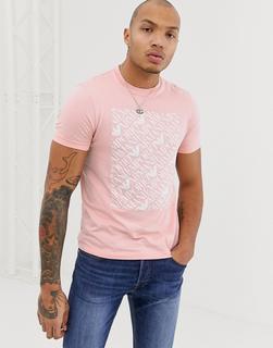 Emporio Armani - T-Shirt mit eckigem Logo in Rosa - Rosa