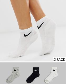 Nike - black white and grey 3 pack ankle socks