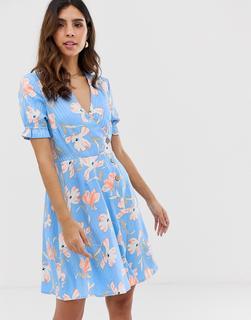Vero Moda - floral stripe tea mini dress