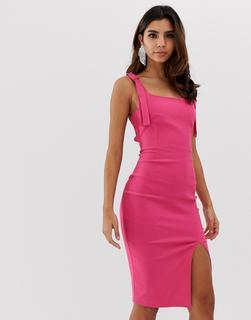 ea79757dddbbf Figurbetontes Kleid mit eckigem Ausschnitt und Vorderschlitz - Rosa