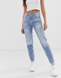 G-Star - 3301 – Kurze Jeans mit hoher Taille und Fransen-Blau