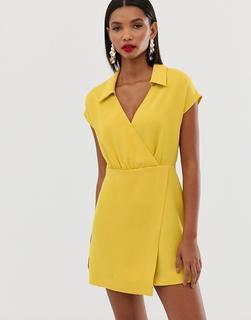 MANGO - mini wrap dress in yellow