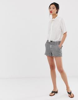 MANGO - raw hem pocket detail short in grey