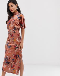 Closet London - Hochgeschlossenes Midaxi-Kleid aus Samt mit Fledermausärmeln und Blumenprint - Mehrfarbig