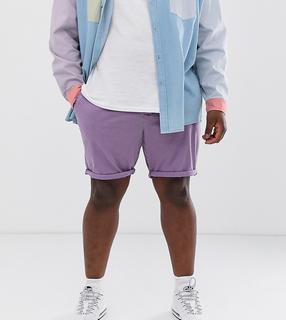ASOS DESIGN - Plus - Schmale Chino-Shorts in verwaschenem Lila - Violett