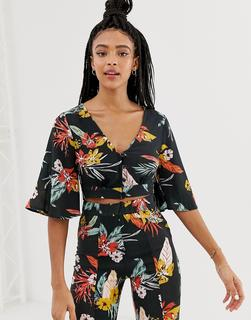 Pull&Bear - floral printed blouse co ord in multi