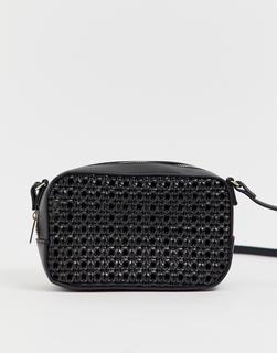 Pimkie - cutwork square cross body bag in black