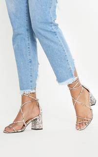 PrettyLittleThing - Snake Block Heel Sandal, Snake Print