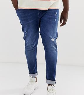 ASOS DESIGN - Plus spray on jeans with power stretch in blue with abrasions