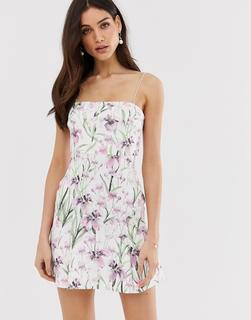 ASOS DESIGN - floral crop top pep hem mini dress