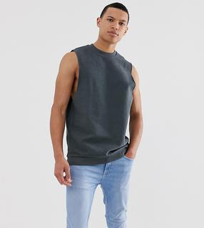 ASOS DESIGN - Tall – Ärmelloses Sweatshirt mit tiefen Armausschnitten und Loopback-Design-Grau