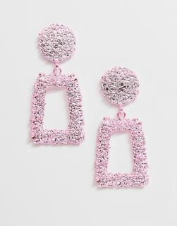 ASOS DESIGN - earrings in square shape in pink