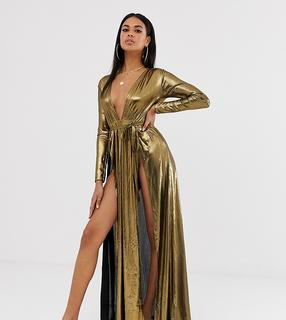 ASOS DESIGN - metallic jersey plisse plunge front beach maxi dress with splits