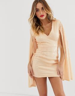 Rare - London liquid sequin mini dress in peach