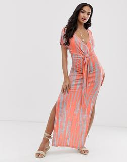 ASOS DESIGN - jersey beach maxi dress in washed neon tie dye with twist front detail