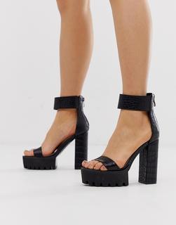 SIMMI Shoes - Simmi London – Kamaya – Schwarze Absatzsandalen mit dicker Sohle