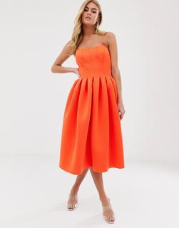 ASOS DESIGN - Trägerloses Ballkleid mit Ziernaht - Orange