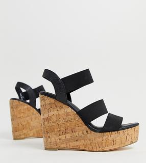 London Rebel - wide fit high heeled cork wedges