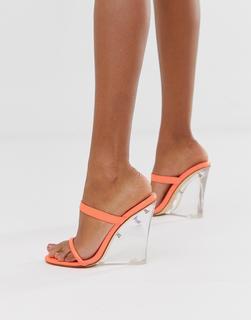 SIMMI Shoes - Simmi London Sierra neon orange clear wedge sandals