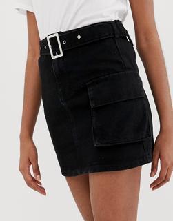 ASOS DESIGN - Denim-Minirock mit Gürtel und Tasche - Schwarz