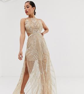 ASOS Petite - ASOS DESIGN Petite maxi dress with geometric embellishment and sheer panels