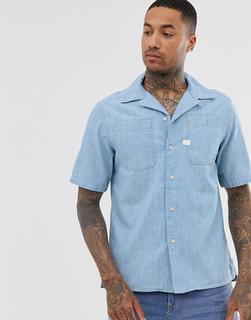 G-Star - Kinec – Kurzärmliges Chambray-Hemd aus Bio-Baumwolle in Blau