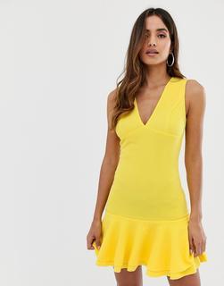 AX Paris - Figurbetontes Schößchenkleid in Gelb - Gelb