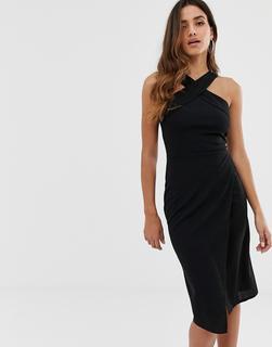 AX Paris - Figurbetontes Neckholder-Kleid in Schwarz - Schwarz