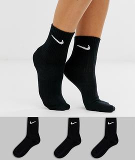Nike - black swoosh logo 3 pack crew socks