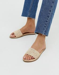 Accessorize - natural woven raffia flat slip on sandals