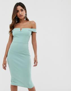 AX Paris - Figurbetontes Kleid mit Carmenausschnitt - Blau