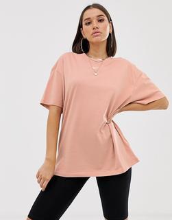 Nike - Boyfriend-T-Shirt mit roségoldenem kleinen Swoosh-Logo - Rosa