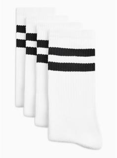 Topman - Mens White With Black Stripe Tube Socks Pack, White