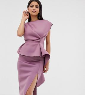 ASOS Tall - ASOS DESIGN Tall – Bleistiftmidikleid mit Schößchen und Faltendetail-Rosa